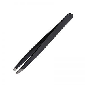 Professional Stainless Steel Black Slant Tweezers